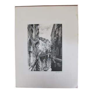 Vintage Silk Screen Print of Venice For Sale