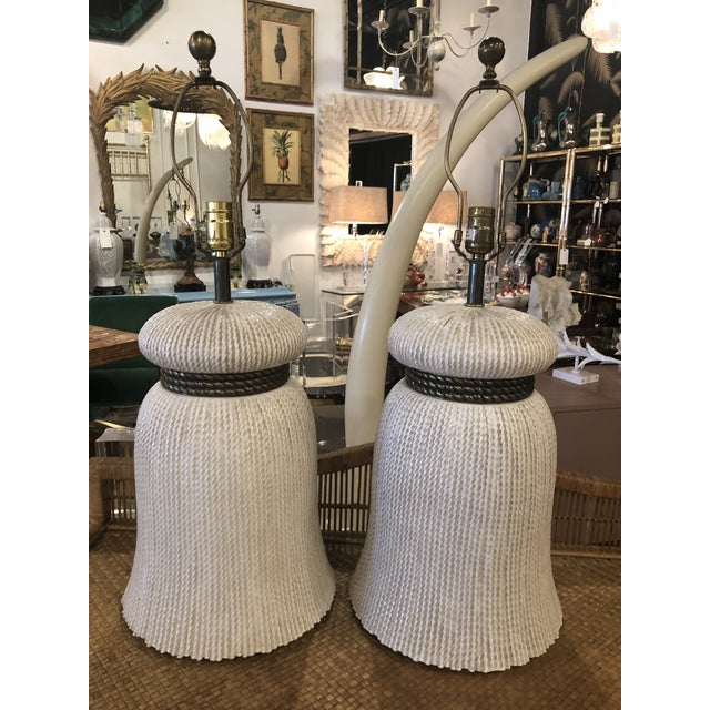 Vintage Chapman Hollywood Regency Chinoiserie Ceramic Tassel Table Lamps - A Pair For Sale - Image 13 of 13