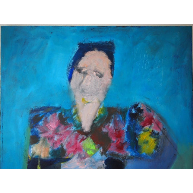Abstract Original Charles Li Hidley Abstract Expressionist Lady Portrait Oil on Canvas Painting For Sale - Image 3 of 9