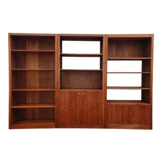 Vintage Mid Century Danish Modern Walnut Three Section Bookcase / Wall Unit For Sale