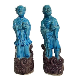 Early 20th Century Chinese Export Glazed Porcelain Figurines - a Pair For Sale