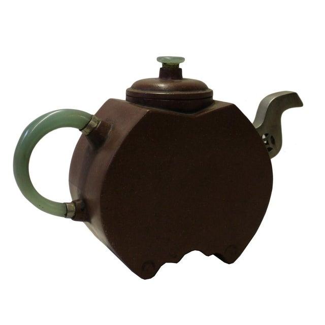 Asian Chinese Zisha Jade Stone Handle Teapot Display Art For Sale - Image 3 of 6