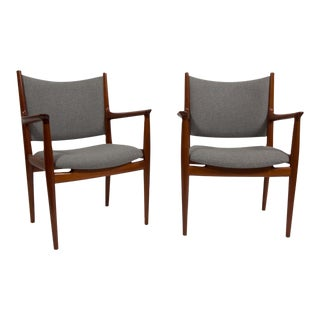 Pair of Hans Wegner Teak Armchairs For Sale