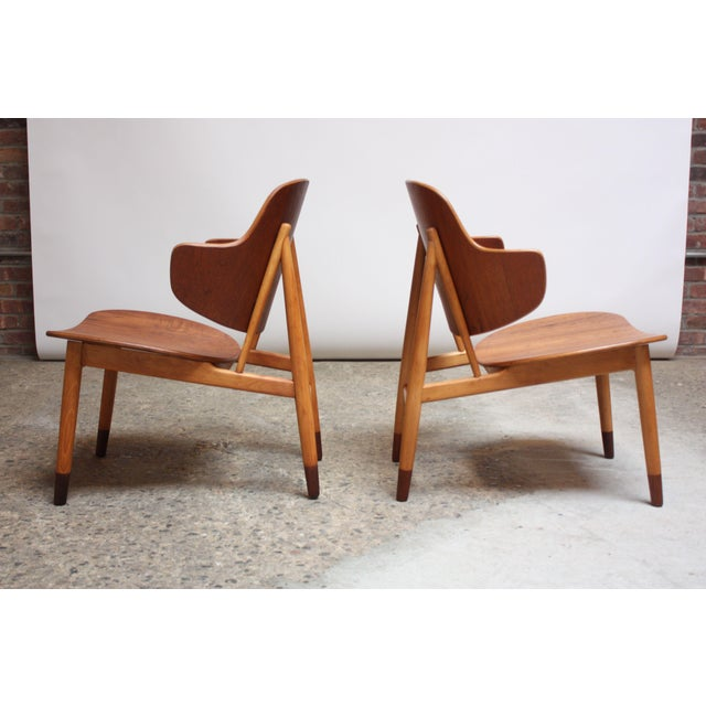 1950s Ib Kofod-Larsen Danish Sculptural Shell Chairs in Teak and Beech - a Pair For Sale - Image 5 of 13