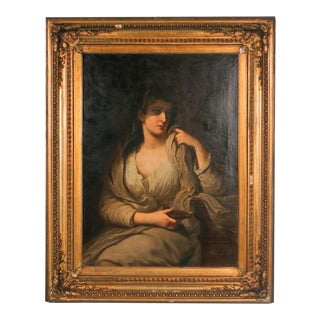 Early 19th Century Antique Vestal Virgin Holding Oil Lamp Original Oil Painting For Sale