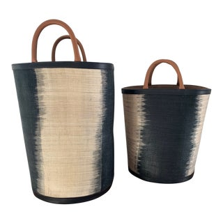 Made Goods Aubrie Handwoven T'Nanak Pattern Baskets. Black and Natural Ombre With Leather Trim and Handles - a Pair For Sale