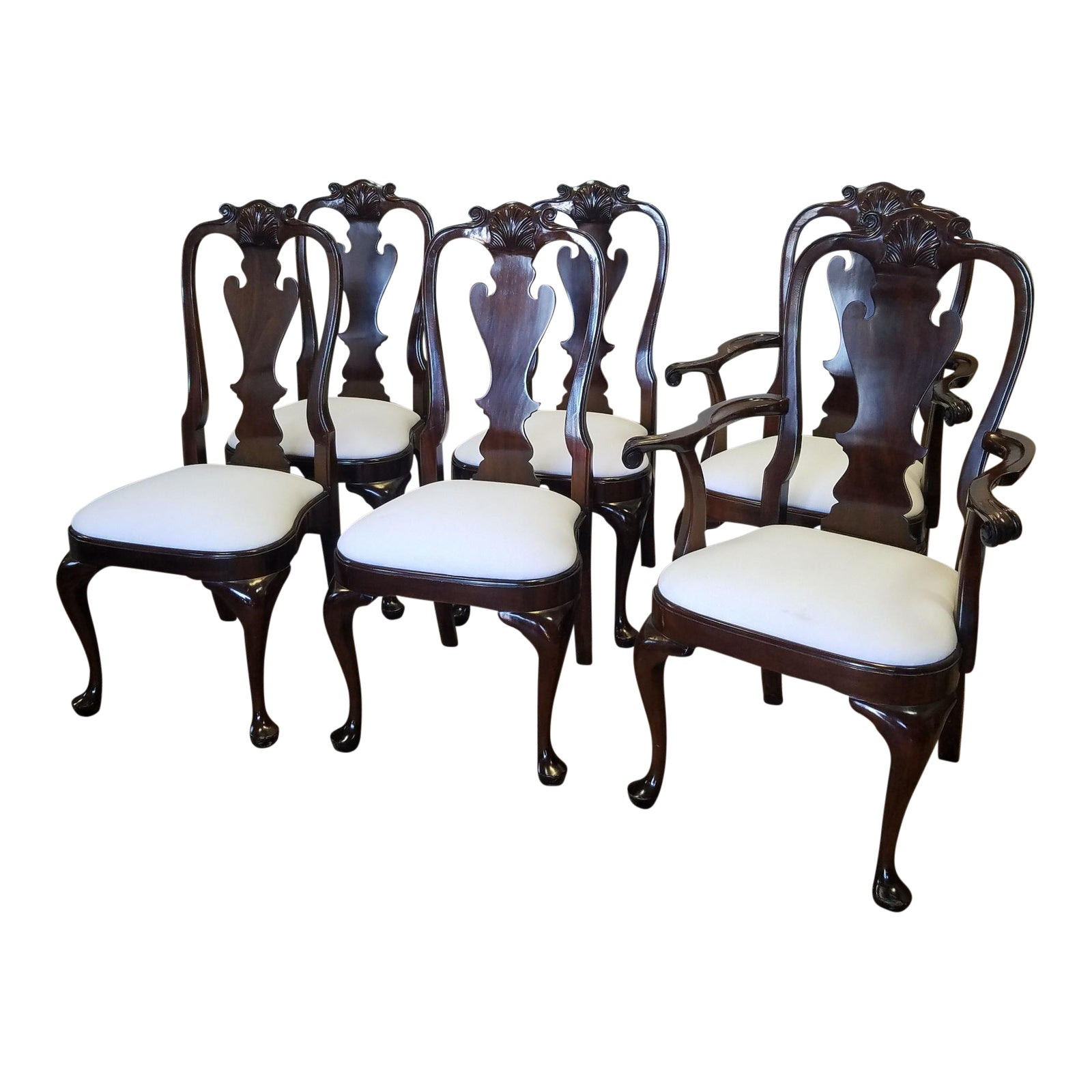 Set 6 Solid Gany Classics Stickley Furniture Queen Anne Style Dining Room Chairs Model 4477 Chairish