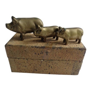 Vintage Brass Pig and Piglets Figurines Toys For Sale