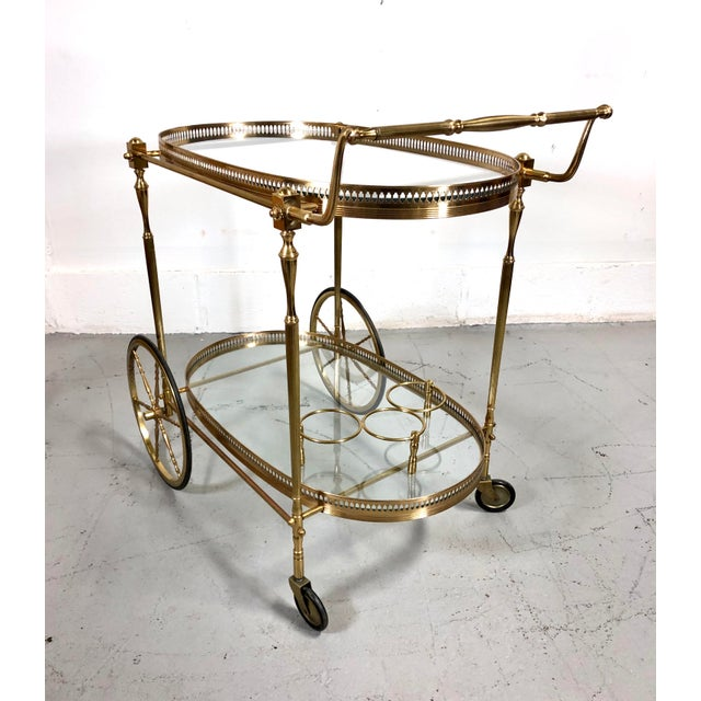 Vintage Maison Jansen Style Brass Bar Cart / Trolley For Sale - Image 11 of 13