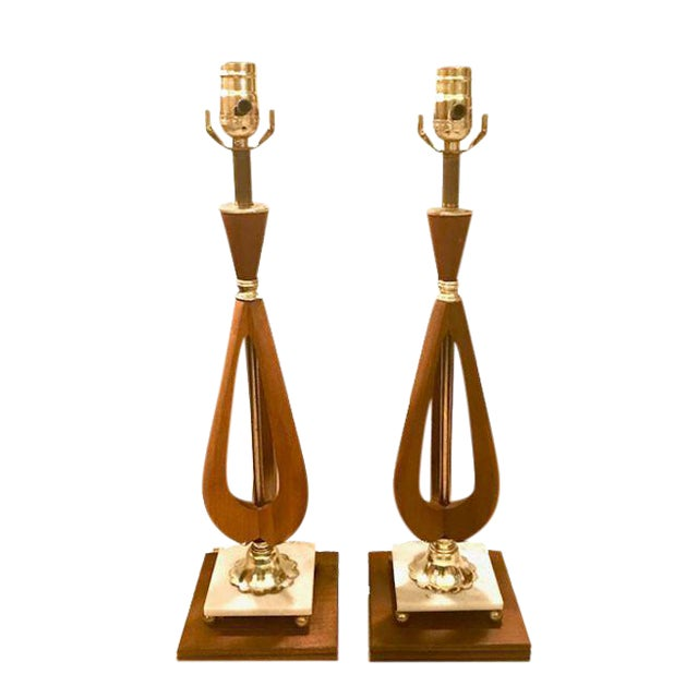 Mid-Century Modern Wood Table Lamps - A Pair For Sale