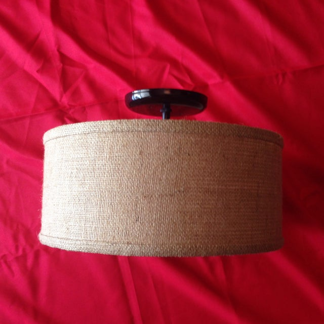 Flush Mount Burlap Shade Ceiling Light - Image 2 of 5