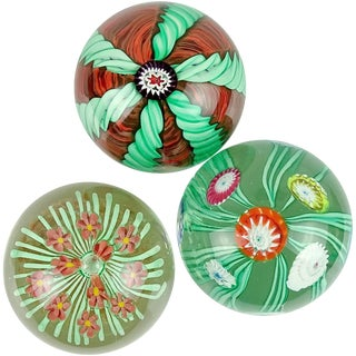 Toso Murano Green Orange Millefiori Flower Italian Art Glass Paperweights Set - 3 Pieces For Sale