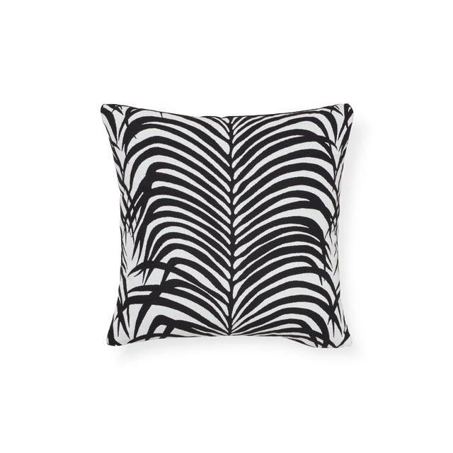 Acrylic Schumacher Zebra Palm Indoor/Outdoor Pillow in Black For Sale - Image 7 of 7