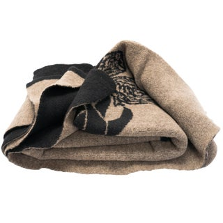 Cabin Collection Blanket in Taupe/Black For Sale