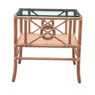 Mediterranean McGuire Target Bamboo and Rattan Side Table For Sale