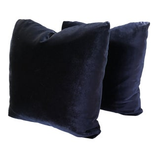 Custom Royal Blue Velvet Pillows - A Pair For Sale