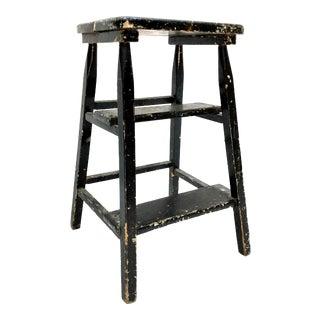 Vintage Shabby Boho Chic Splatter Paint Step Stool For Sale