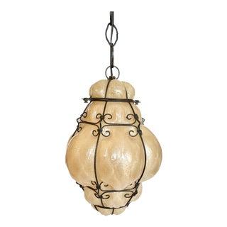 Vintage Boho Wire Encased Hanging Blown Glass Pendant Lantern For Sale