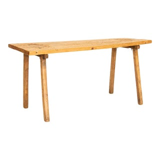 Vintage Plank Slab Wood Console Table For Sale