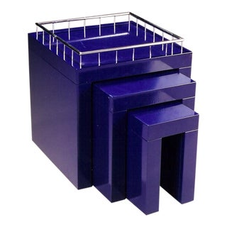 1970s Marco Zanini Memphis Group Blue Enameled Steel Nesting Tables - Set of 3 For Sale