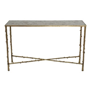 Glostrup Metal Entryway Console Table With Mirror Top