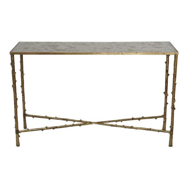 Glostrup Metal Entryway Console Table With Mirror Top - Image 1 of 7