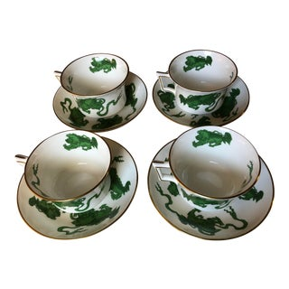 Mid 20th Century Wedgwood Chinese Tiger Tea Cups and Saucers - Service for 4 For Sale