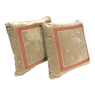 Taupe Velvet Pillows With Tea and Berry Tape For Sale
