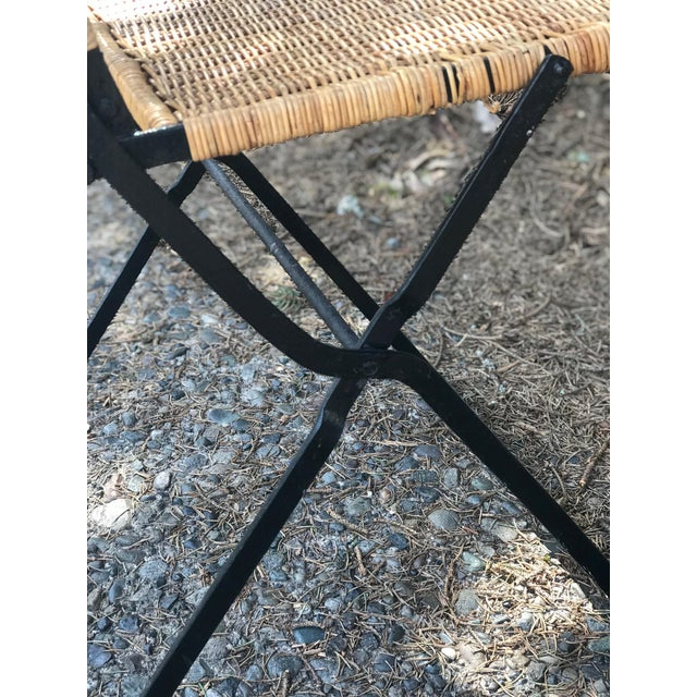 1960s Boho Chic Rattan & Wrought Iron Folding Chair For Sale - Image 4 of 9