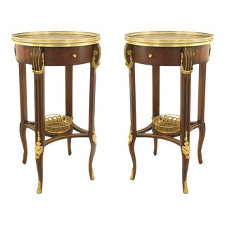 French Louis XVI Brass and Floral Inlaid End Tables For Sale