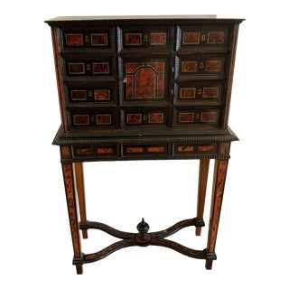 Antique Flemish Tortoise Inlaid Chest on Stand For Sale