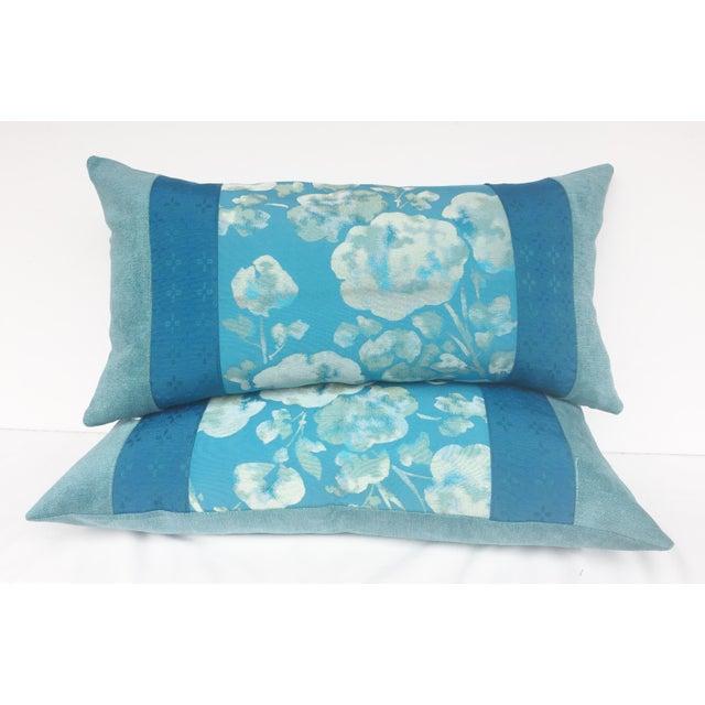 Blue Japanese Obi Pilows - A Pair - Image 2 of 4