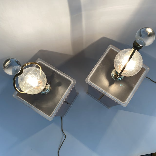 Mauve 1980s Optique Mauve Lacquered Metal and Lucite Lamps- a Pair For Sale - Image 8 of 11