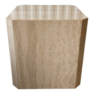 Vintage Travertine Cube Octagonal Table For Sale