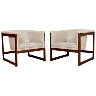 Pair of Mid-Century Modern Milo Baughman Floating Cube Walnut Lounge Chairs For Sale