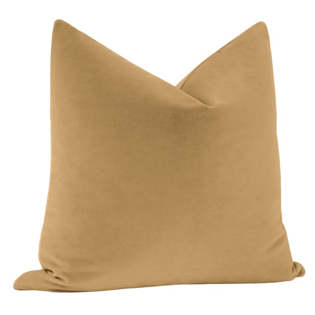 """Contemporary 22"""" Camel Italian Velvet Pillows - a Pair For Sale - Image 3 of 5"""