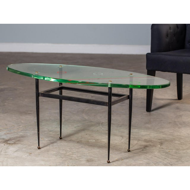 Vintage 1960s Italian Oval Coffee Table with Painted Glass Top For Sale - Image 11 of 13