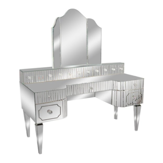 Custom Mirrored Vanity with Tryptic Mirror and Baguette Detailing For Sale