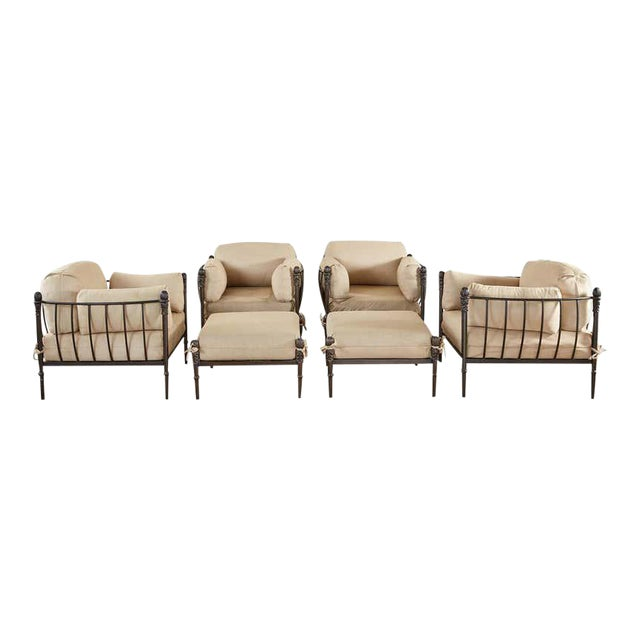 Set of Four Michael Taylor Bronzed Lounge Chairs With Ottomans For Sale
