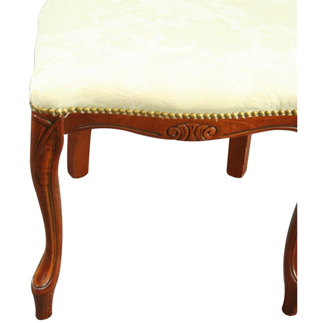 White Italian Ivory Damask Dining Chair For Sale - Image 8 of 8