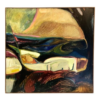 Abstract Expressionist Oil on Canvas Painting, Signed Carolyn Linney For Sale