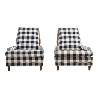 Mid-Century Buffalo Check Upholstered Walnut Club Chairs - A Pair For Sale