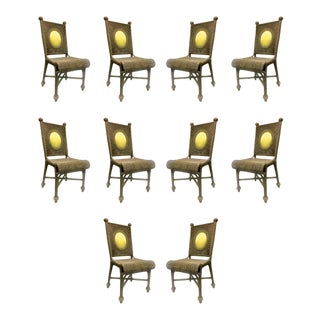 Jean Royere Style 40s Rare Set of 10 Rattan Dining Chairs in Vintage Condition