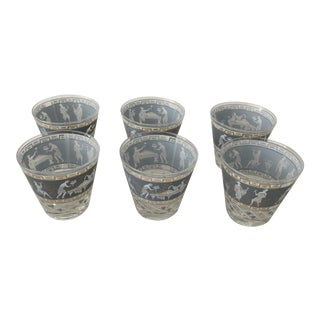 Mid-Century Roman Frieze Rocks Glasses - Set of 6