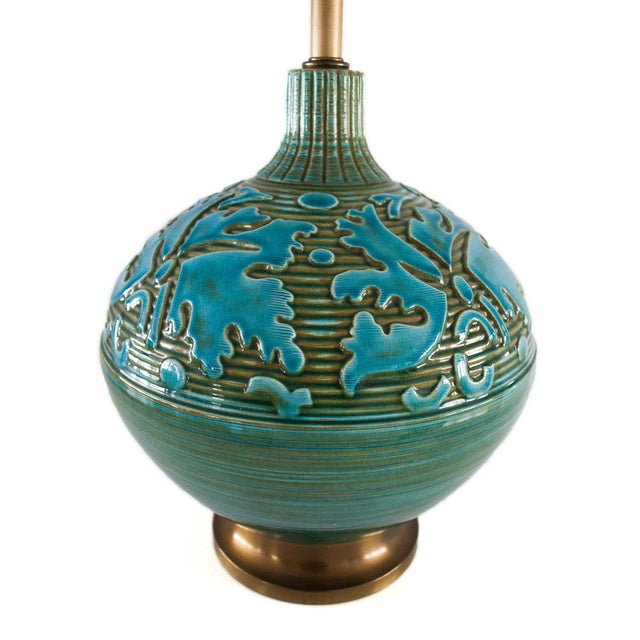 Retro Blue Green Sphere Lamps - A Pair - Image 4 of 5