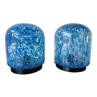 Pair of Glass Lamps by Gae Aulenti for Vistosi Murano. Italy, 1970s For Sale