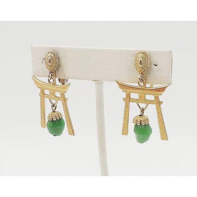1960s 1960s Napier Pagoda Faux-Jade Rhinestone Drop Earrings For Sale - Image 5 of 9