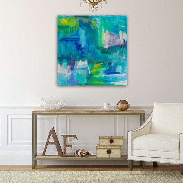 """Abstract Large Abstract Painting by Trixie Pitts """"Reflections"""" For Sale - Image 3 of 9"""