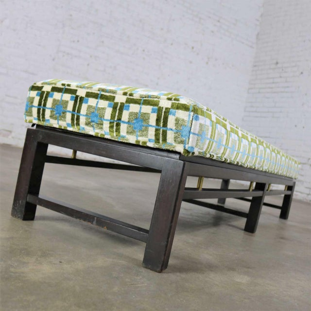 Metal Edward Wormley for Dunbar Mid Century Modern Bench Newly Upholstered For Sale - Image 7 of 13
