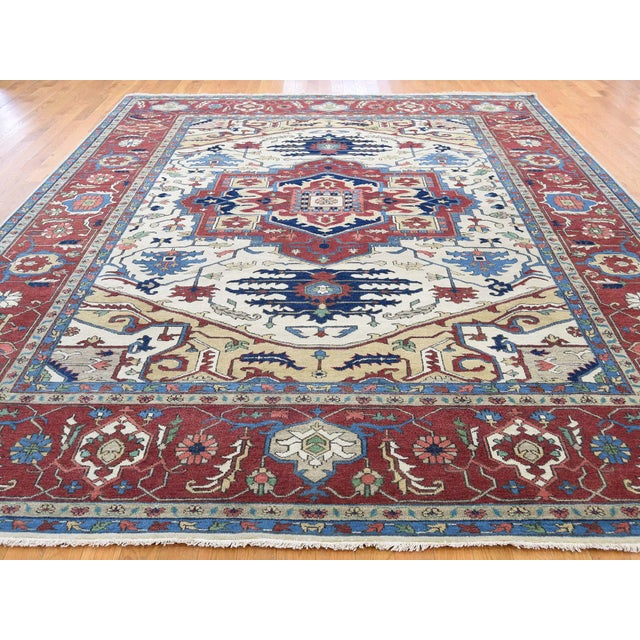 Traditional Hand-Knotted Wool Serapi Heriz Tribal Design Rug- 9′ × 11′9″ For Sale - Image 3 of 13